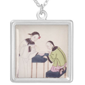 A Girl Looking for Luck into a Bowl of Water Silver Plated Necklace