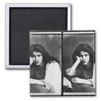 A Girl of Chioggia Dreaming of Her Loves (b/w phot 2 Inch Square Magnet