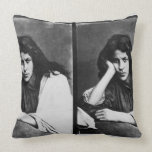 A Girl of Chioggia Dreaming of Her Loves (b/w phot Pillow
