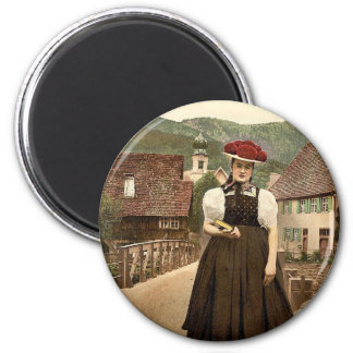 A Girl of the Black Forest, Black Forest, Baden, G 2 Inch Round Magnet