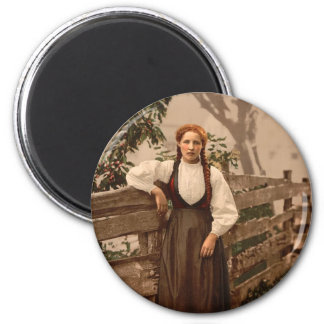 A girl of Voss, Hardanger Fjord, Norway 2 Inch Round Magnet