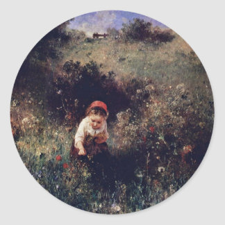 A Girl On The Field By Knaus Ludwig (Best Quality) Sticker
