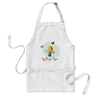 A girl playing with the birds standard apron
