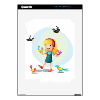A girl playing with the birds decal for iPad 2