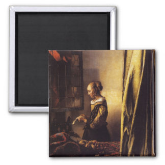 A Girl Reading a Letter at an Open Window 2 Inch Square Magnet