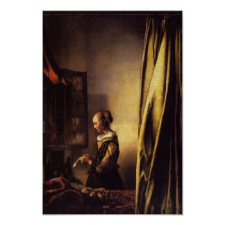A Girl Reading a Letter at an Open Window Poster