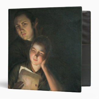A Girl reading a letter by Candlelight 3 Ring Binder
