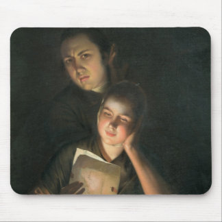 A Girl reading a letter by Candlelight Mouse Pad
