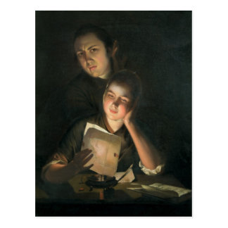 A Girl reading a letter by Candlelight Postcard