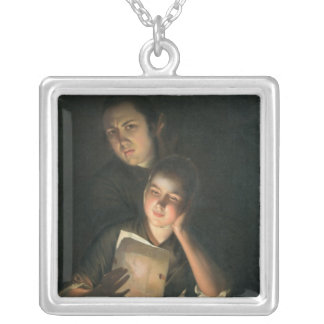 A Girl reading a letter by Candlelight Silver Plated Necklace
