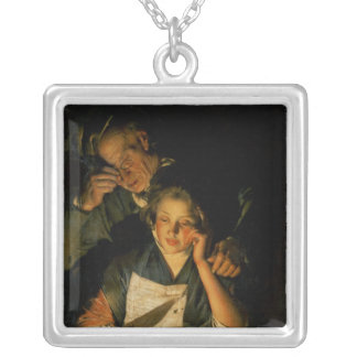 A Girl reading a Letter Silver Plated Necklace