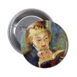 A Girl Reading By Pierre-Auguste Renoir Pinback Button