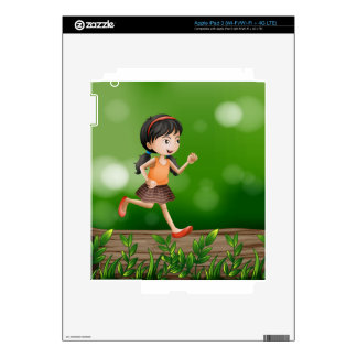 A girl running at the forest decal for iPad 3