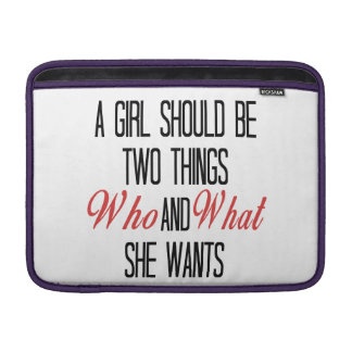 A Girl Should Be Who and What She Wants Sleeve For MacBook Air