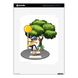 A girl skateboarding at the pedestrian lane decal for iPad 3