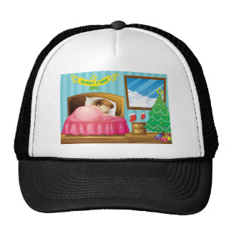A girl sleeping in her room with a Christmas tree Trucker Hat