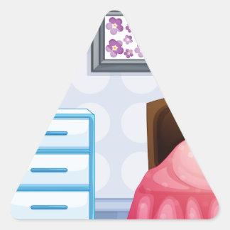 A girl sleeping triangle sticker