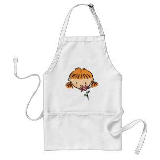 A Girl Smelling a Pink Flower Adult Apron