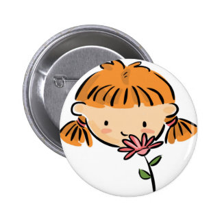A Girl Smelling a Pink Flower Pin
