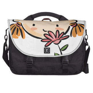 A Girl Smelling a Pink Flower Bag For Laptop