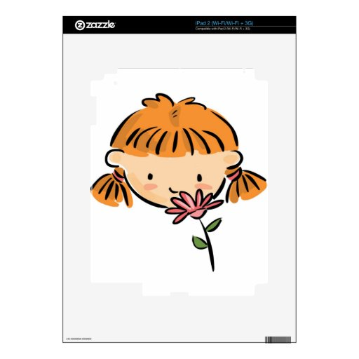 A Girl Smelling a Pink Flower Skins For The iPad 2