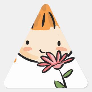 A Girl Smelling a Pink Flower Sticker