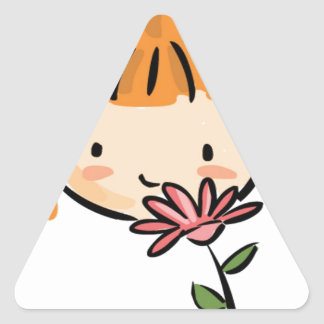 A Girl Smelling a Pink Flower Triangle Sticker