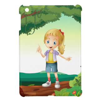 A girl standing on a dry wood iPad mini covers