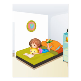 A girl studying in her clean bedroom postcard