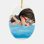 A girl swimming with goggles ceramic ornament