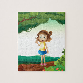 A girl under tree in nature jigsaw puzzles
