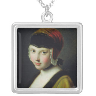 A girl with a black mask square pendant necklace