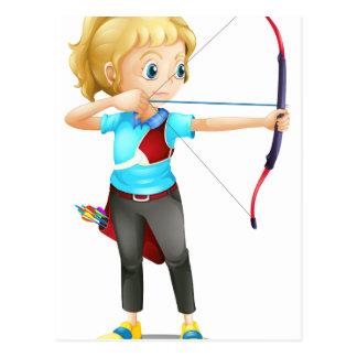 A girl with a bow and arrow postcard