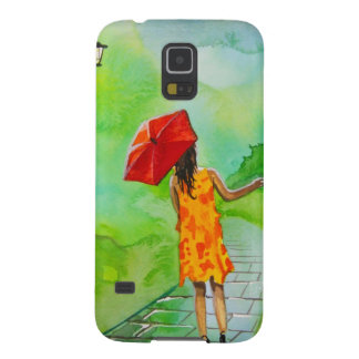 a Girl with a red umbrella by Gordon Bruce Galaxy S5 Case