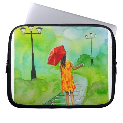 a Girl with a red umbrella by Gordon Bruce Computer Sleeves