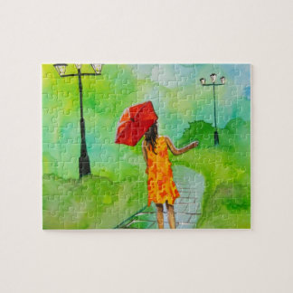 a Girl with a red umbrella by Gordon Bruce Puzzle