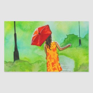 a Girl with a red umbrella by Gordon Bruce Rectangle Stickers