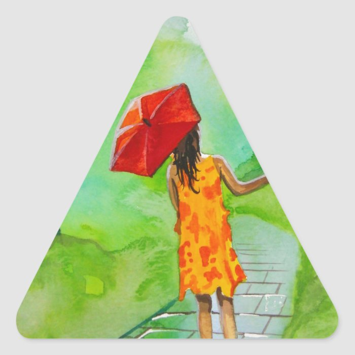 a Girl with a red umbrella by Gordon Bruce Triangle Sticker