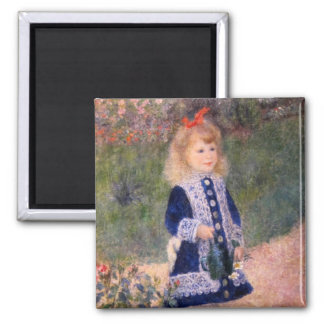 A Girl With A Watering Can by Pierre Renoir Magnet