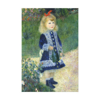A Girl with a Watering Can Vintage Painting Canvas Print