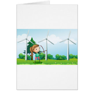 A girl with an archer near the windmills cards