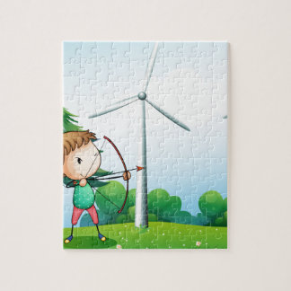 A girl with an archer near the windmills puzzles