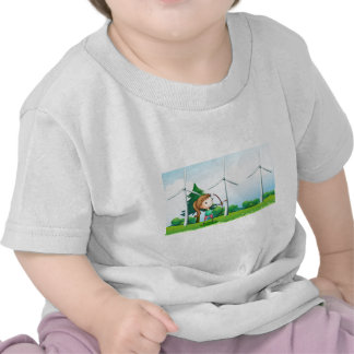 A girl with an archer near the windmills tee shirts