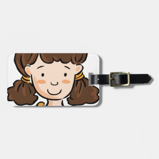 A Girl with Brown Hair Bag Tag