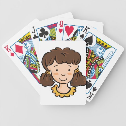 A Girl with Brown Hair Playing Cards