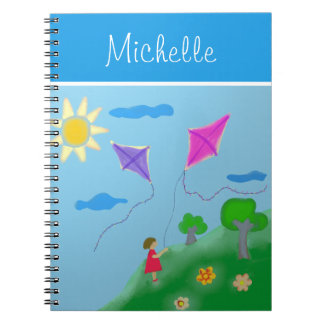 A Girl with Kites with Name Notebook