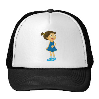a girl with receiver trucker hat