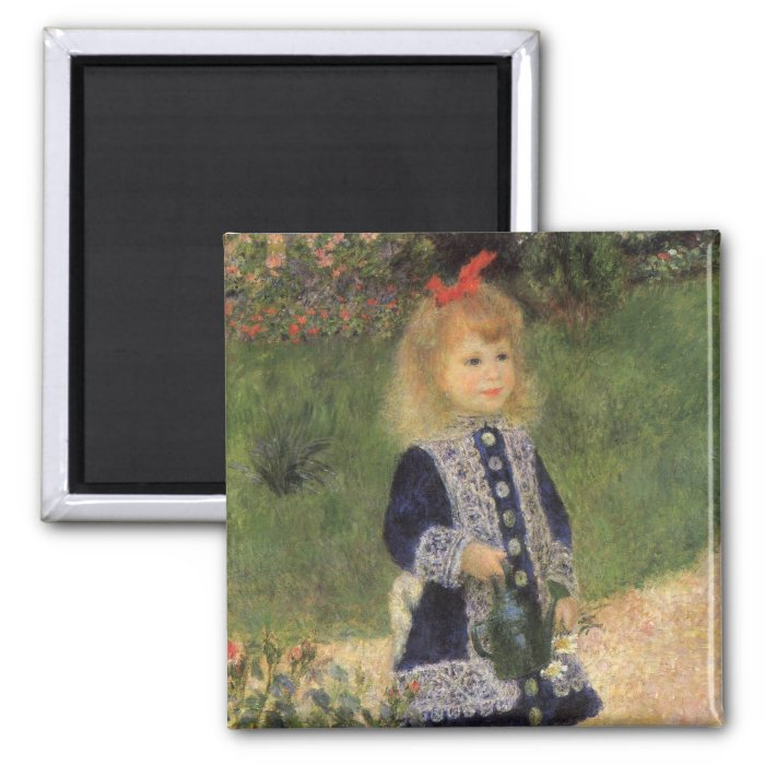 A Girl with Watering Can by Pierre Renoir 2 Inch Square Magnet