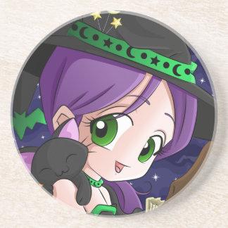 A Girls Best Friend Is her Black Cat Anime Coaster