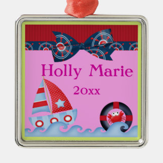 A Girls Sea Life Baby Shower Metal Ornament